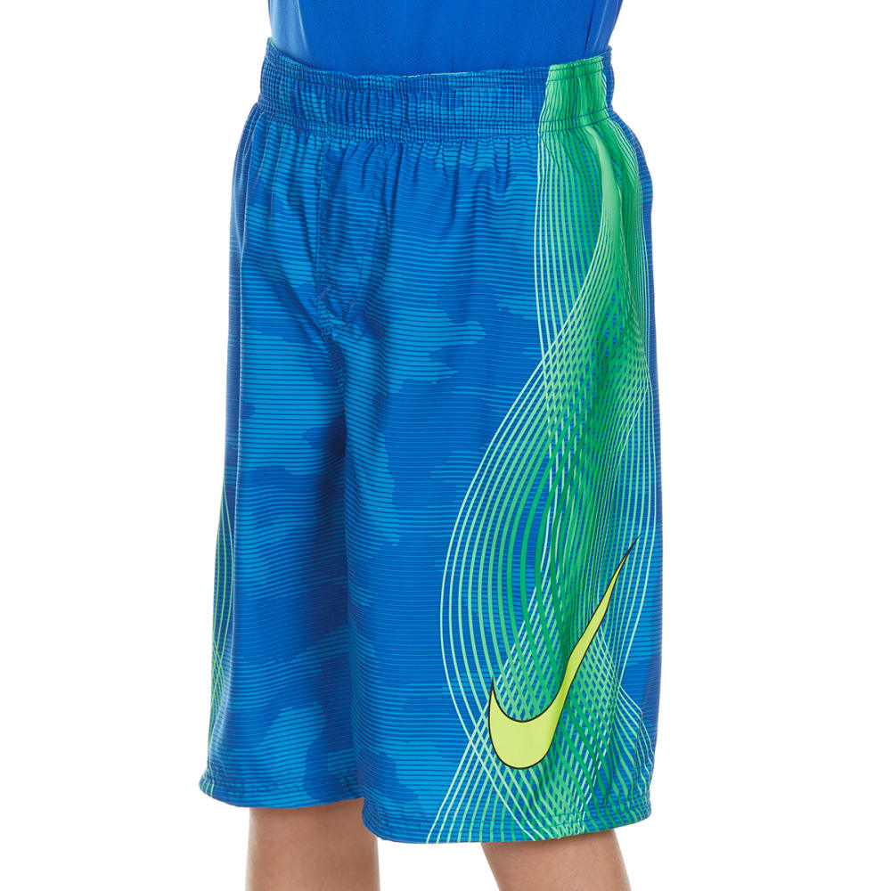 NIKE Boys' 9 in. Camo-Tion Wave Volley Swim Shorts - LIGHT PHOTO BLUE-436
