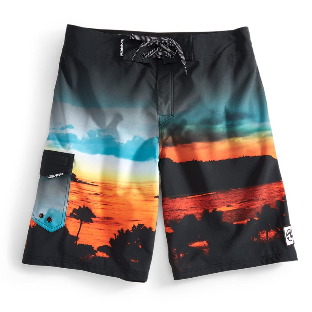 OCEAN CURRENT Boys' Tropics Too Board Shorts - BLACK