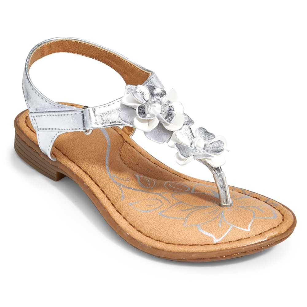 B.O.C. Girls' Dixie Flower Thong Sandals - SILVER