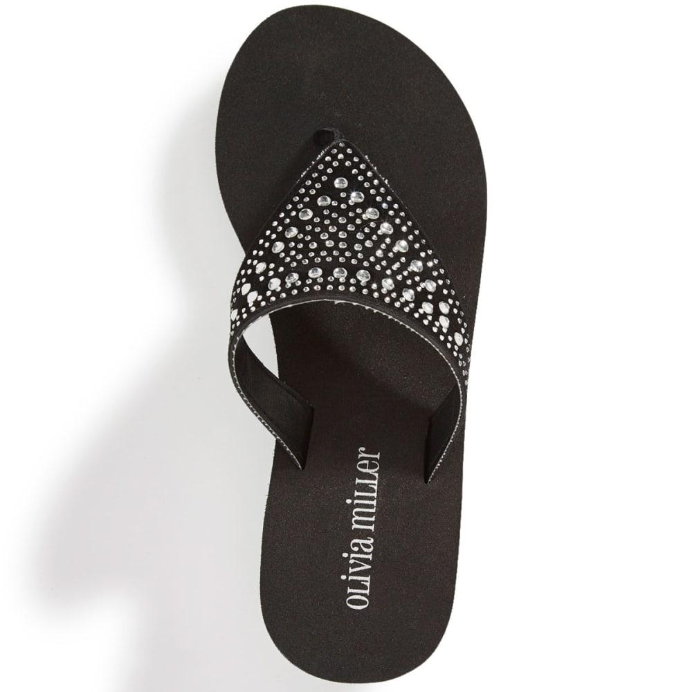 OLIVIA MILLER Women's Hooded Rhinestone Wedge Sandals - BLACK