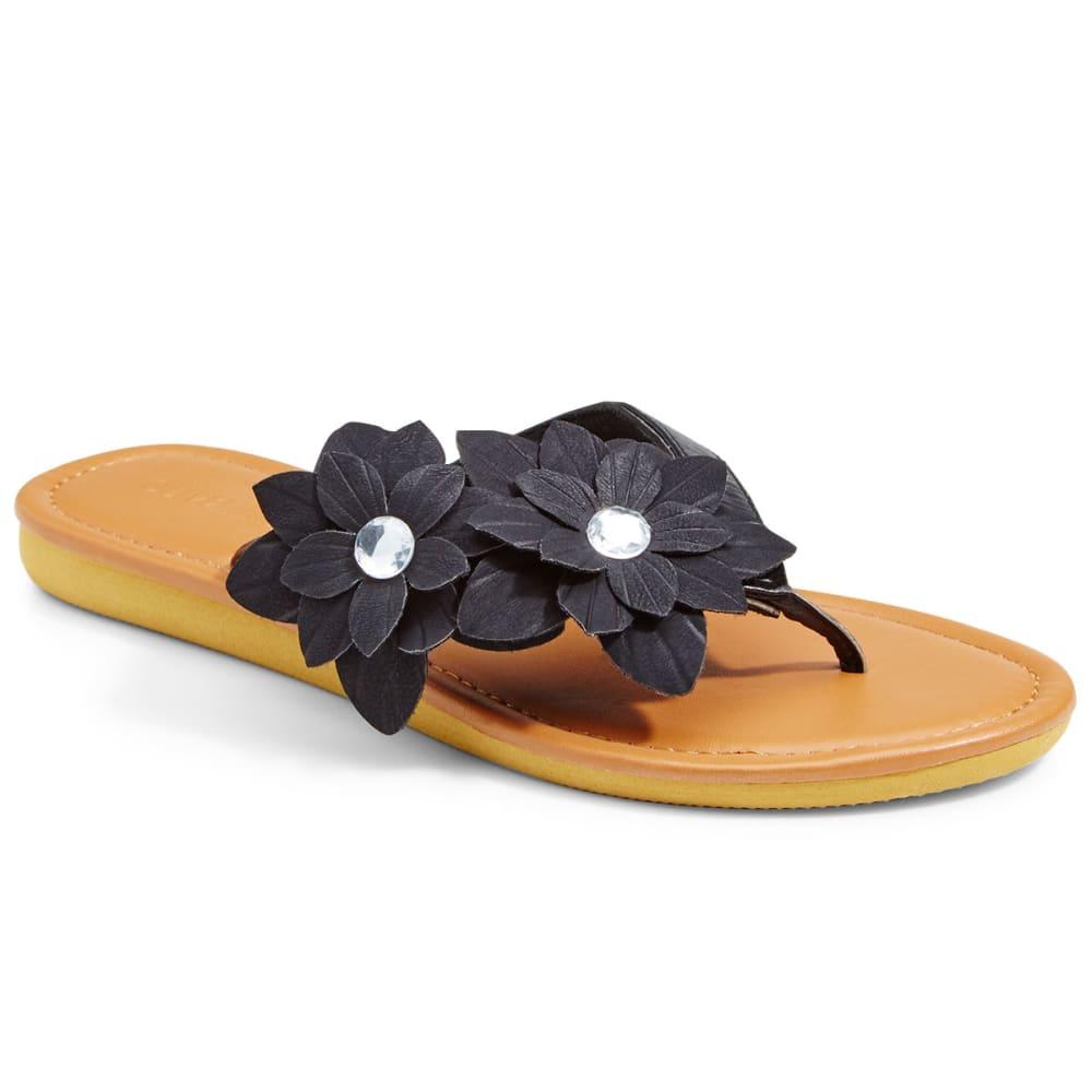OLIVIA MILLER Women's Floral Gem Thong Sandal - BLACK
