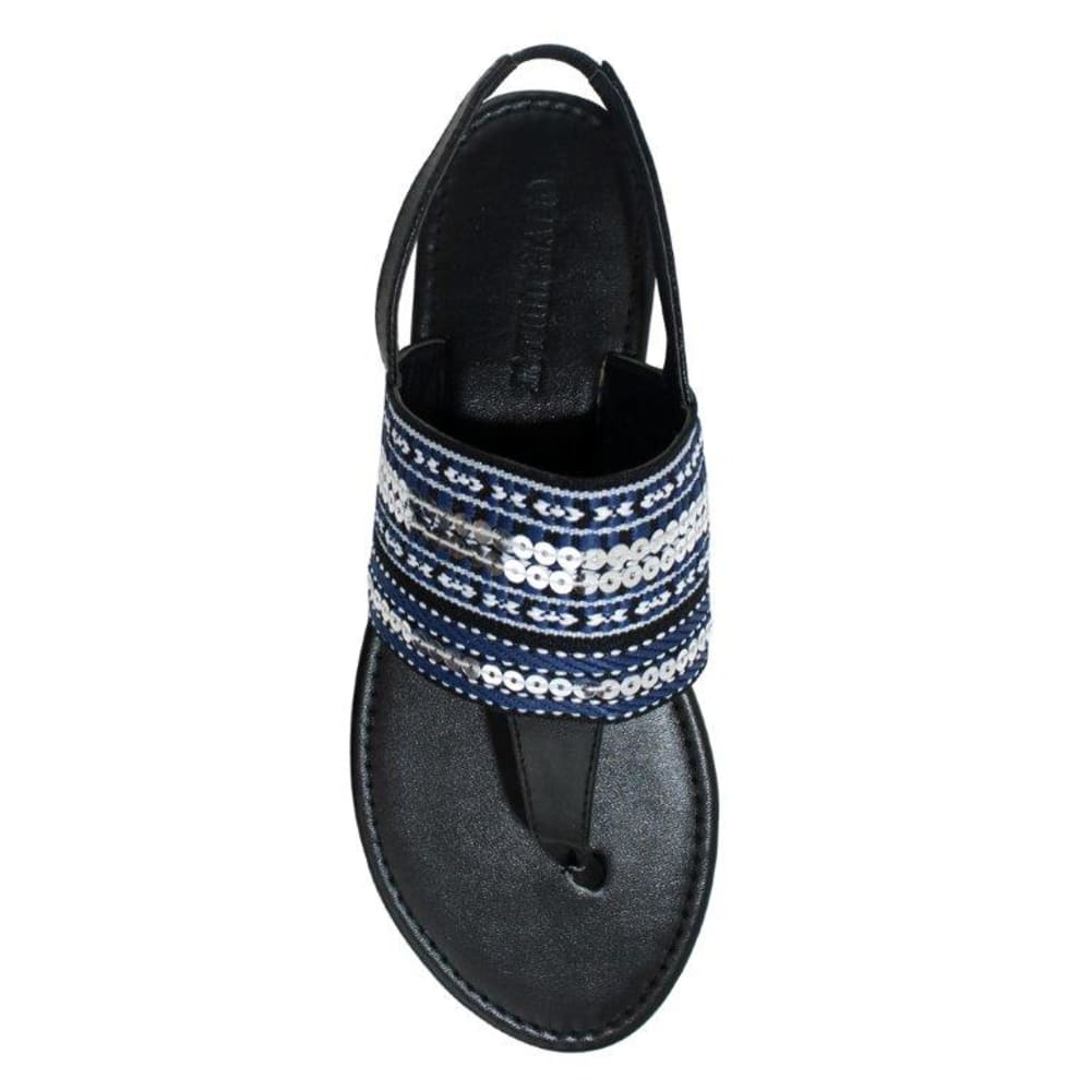 OLIVIA MILLER Women's Piacenza Sandals - BLACK/WHITE/BLUE
