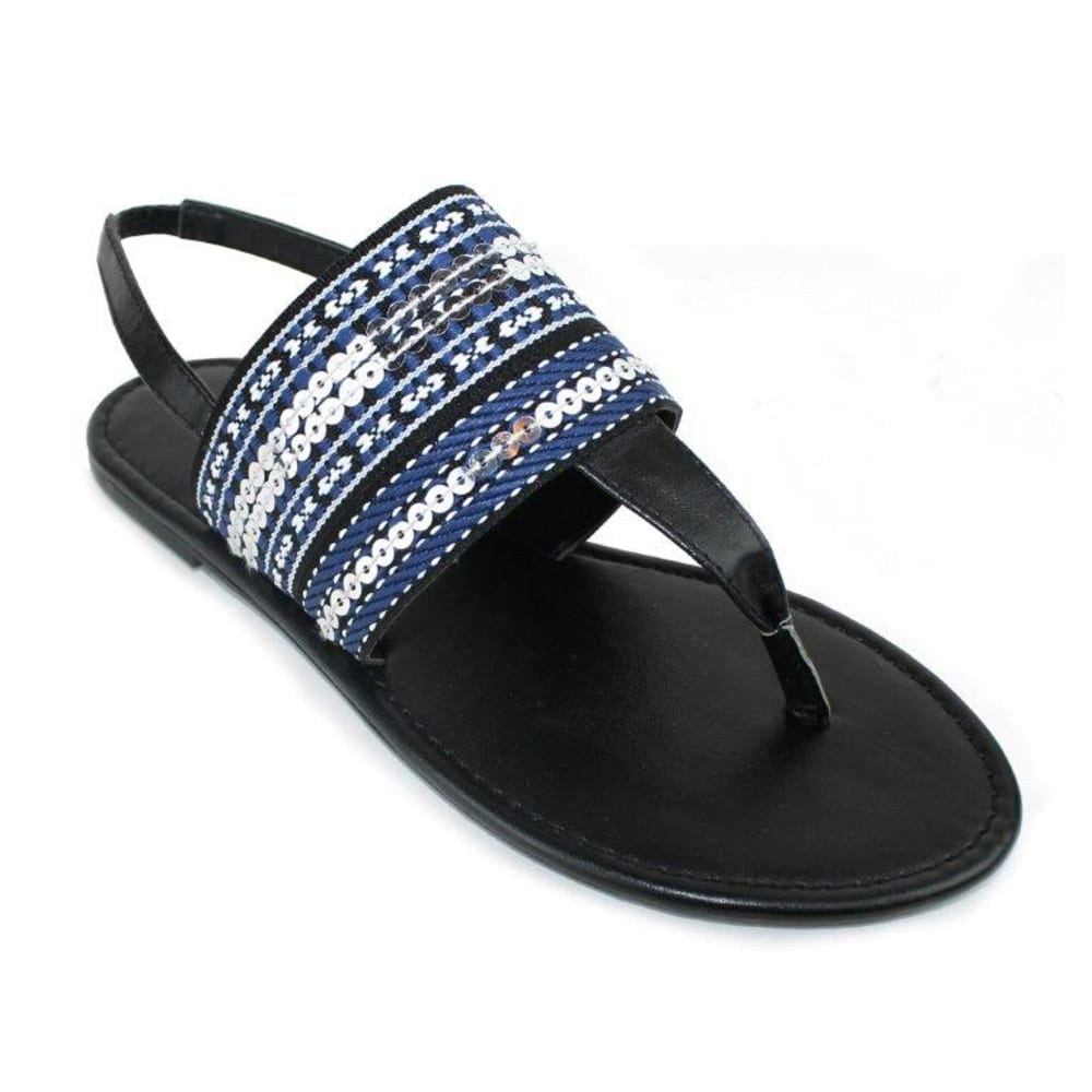 OLIVIA MILLER Women's Piacenza Sandals - BLACK/WHITE/BLUE