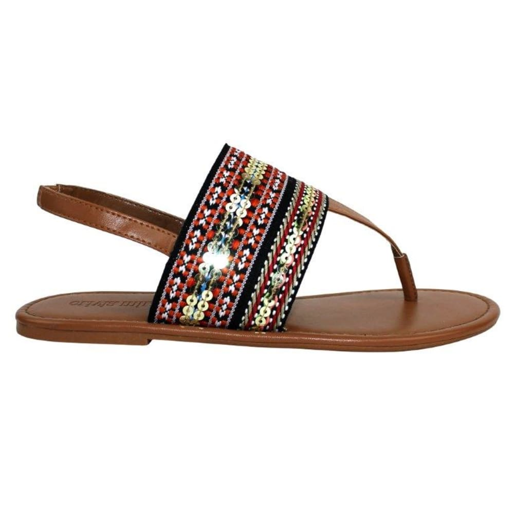 OLIVIA MILLER Women's Tribal T Strap Sandals - TAN