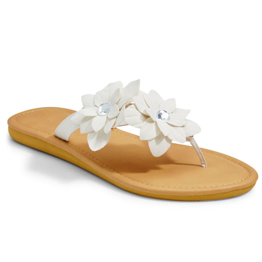 OLIVIA MILLER Women's Floral Gem Flat Thong Sandals - WHITE