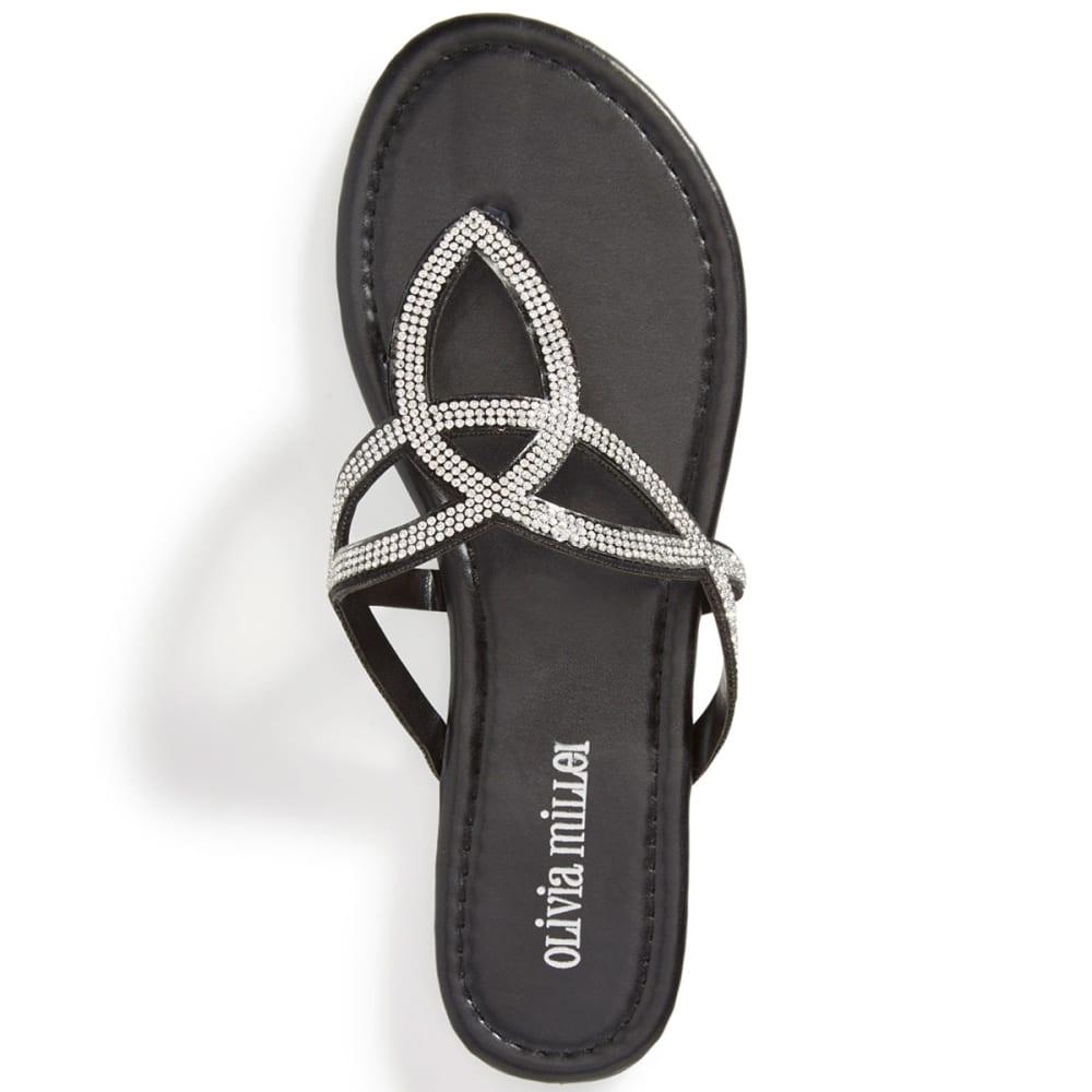 OLIVIA MILLER Women's Rimini Rhinestone Cutout Sandals - BLACK