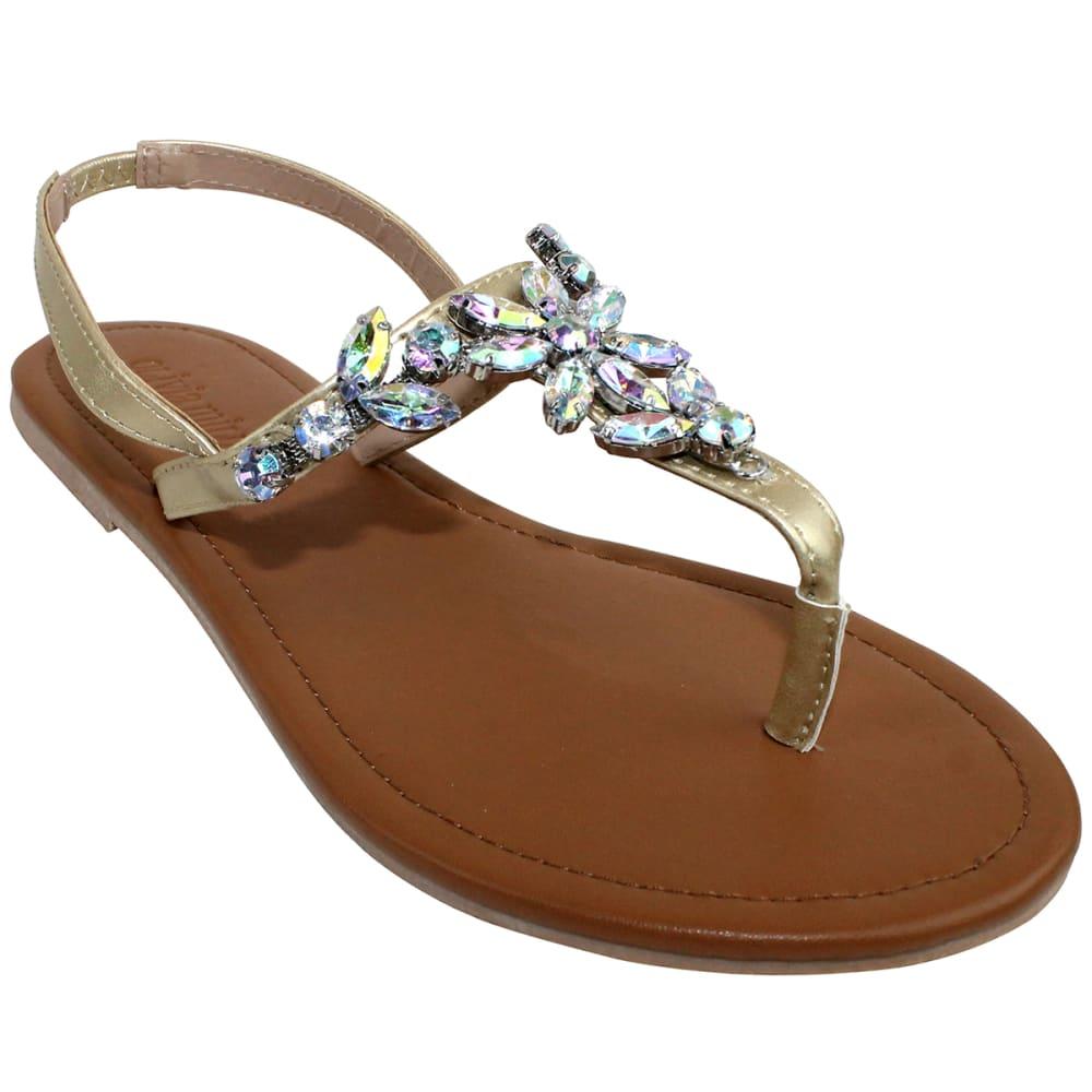 OLIVIA MILLER Women's Gold Flower Gem T-Strap Sandal - GOLD