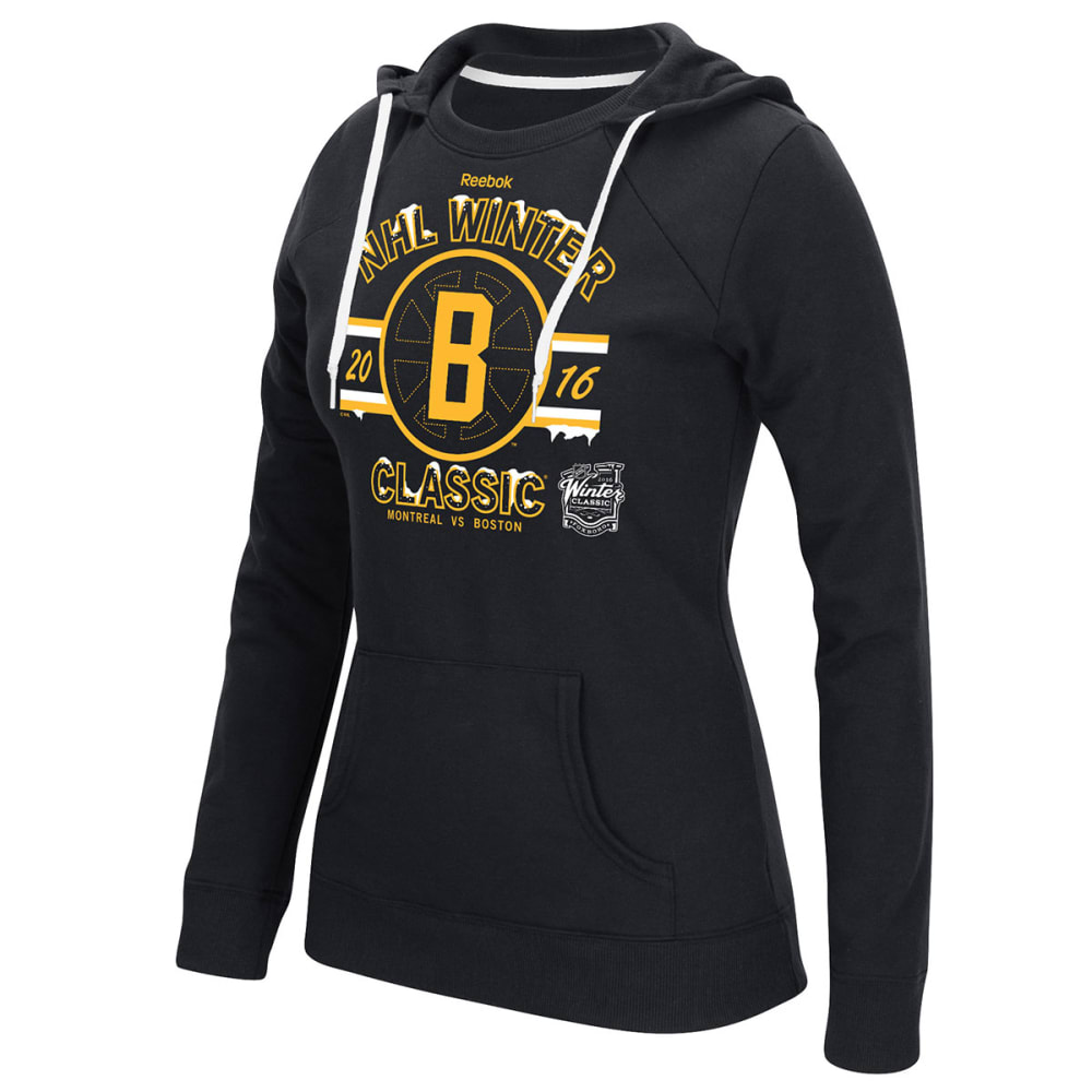 BOSTON BRUINS Women's 2016 Winter Classic Snow Puff Lace Hoodie - BLACK
