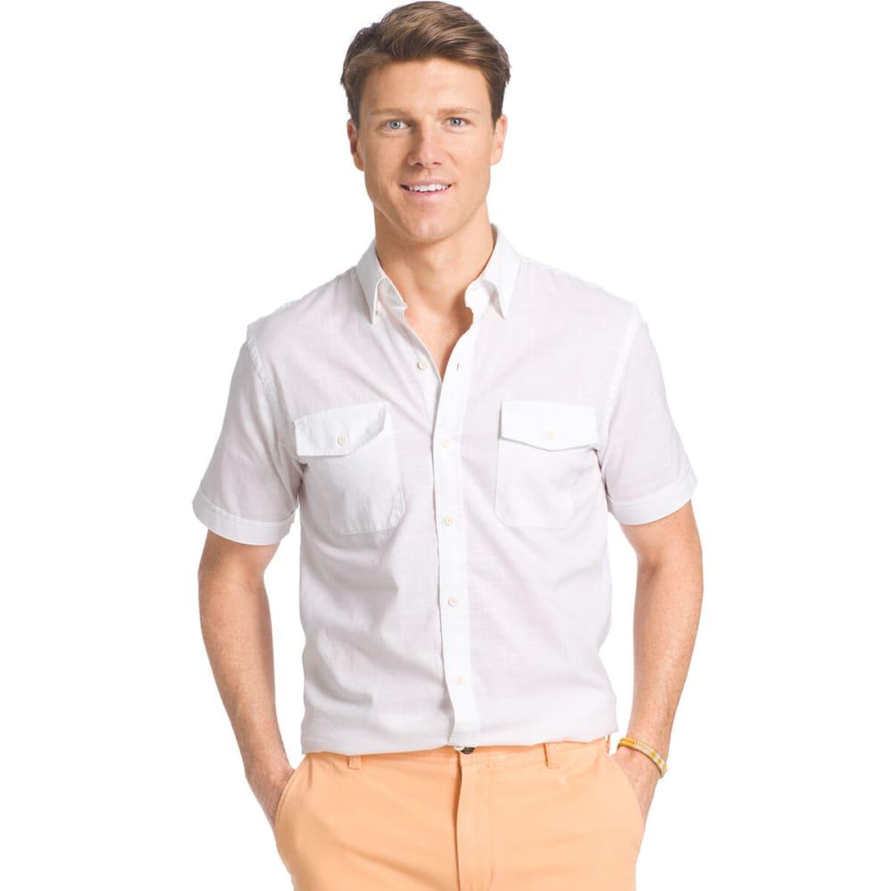IZOD Men's Dockside Short-Sleeve Chambray Shirt - 116-WHITE