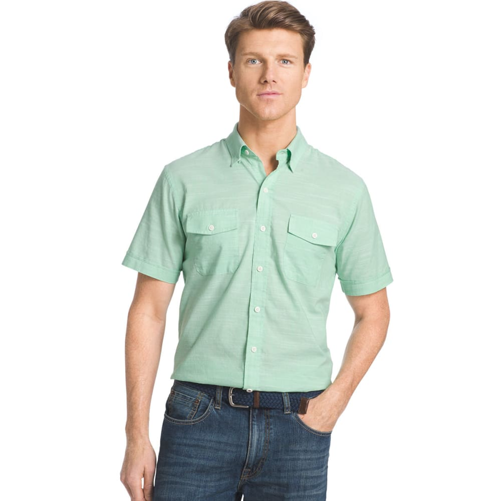IZOD Men's Dockside Short-Sleeve Chambray Shirt - 317-ABSINTHE GREEN