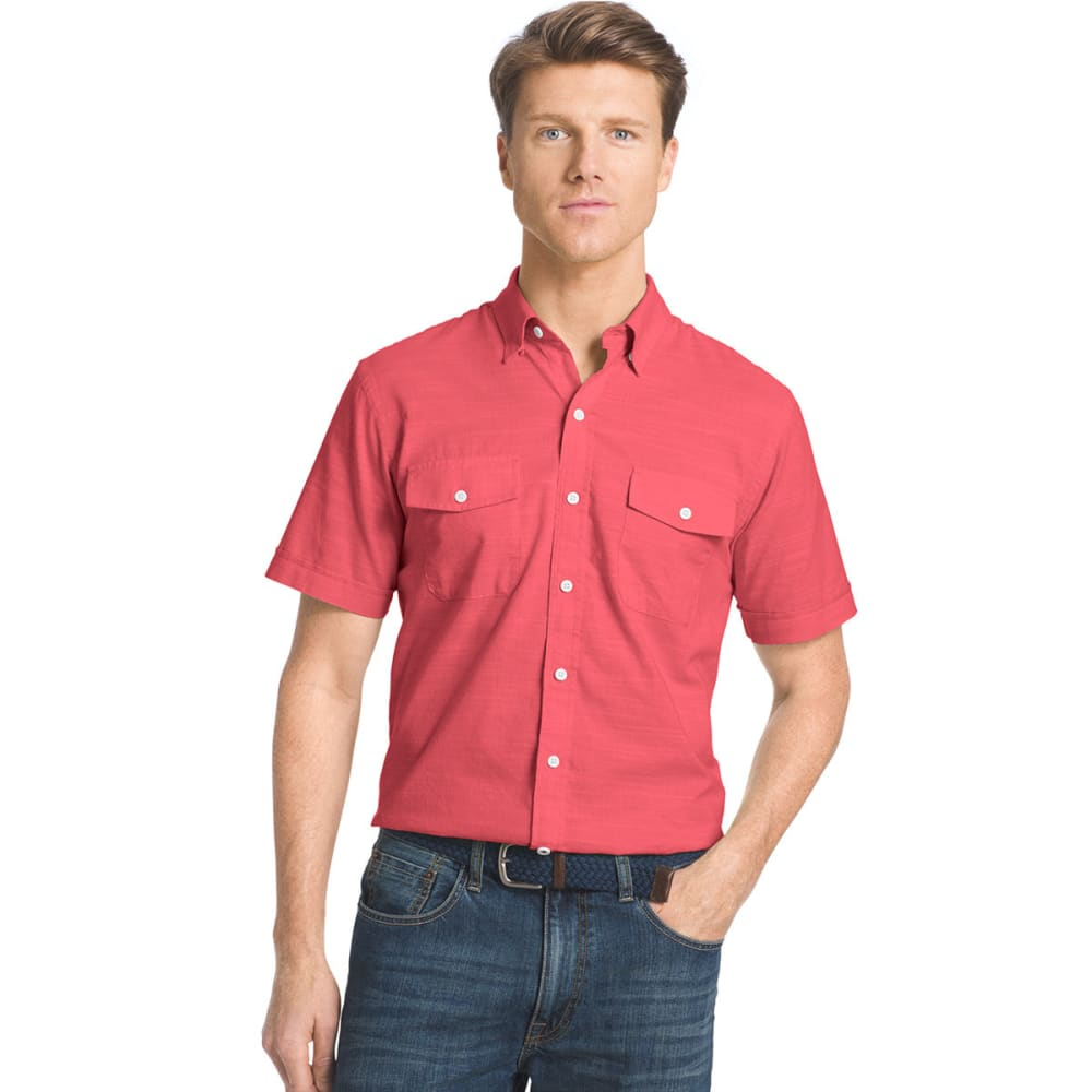 IZOD Men's Dockside Short-Sleeve Chambray Shirt - 637-CLARET RED