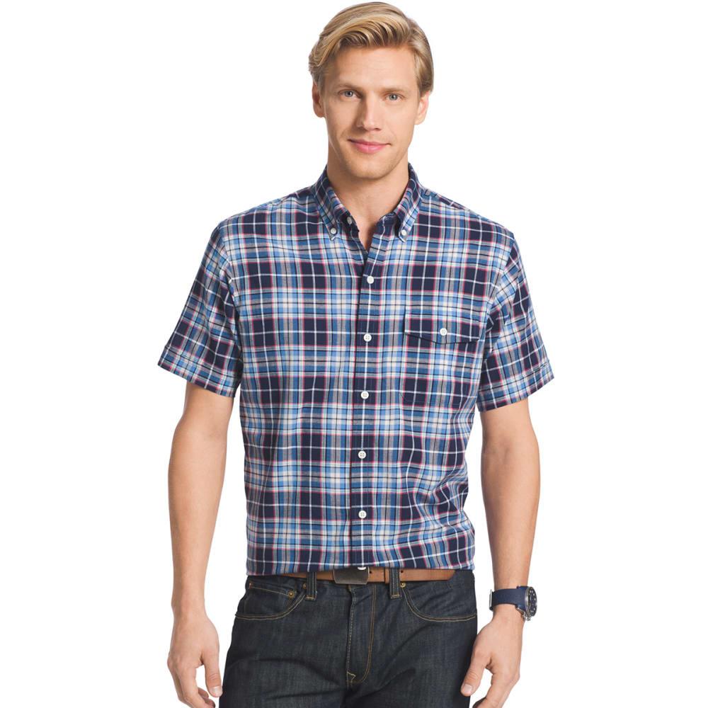 IZOD Men's Plaid Dockside Short-Sleeve Chambray Shirt - 403-PEACOAT