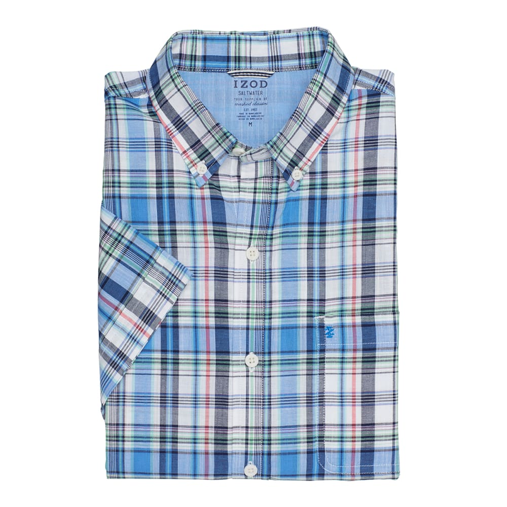 IZOD Men's Plaid Dockside Chambray Short-Sleeve Shirt - 464-BLUE REVIVAL