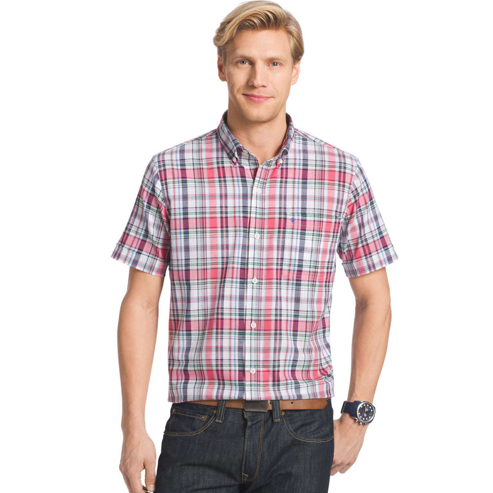 IZOD Men's Plaid Dockside Chambray Short-Sleeve Shirt - 637-CLARET RED