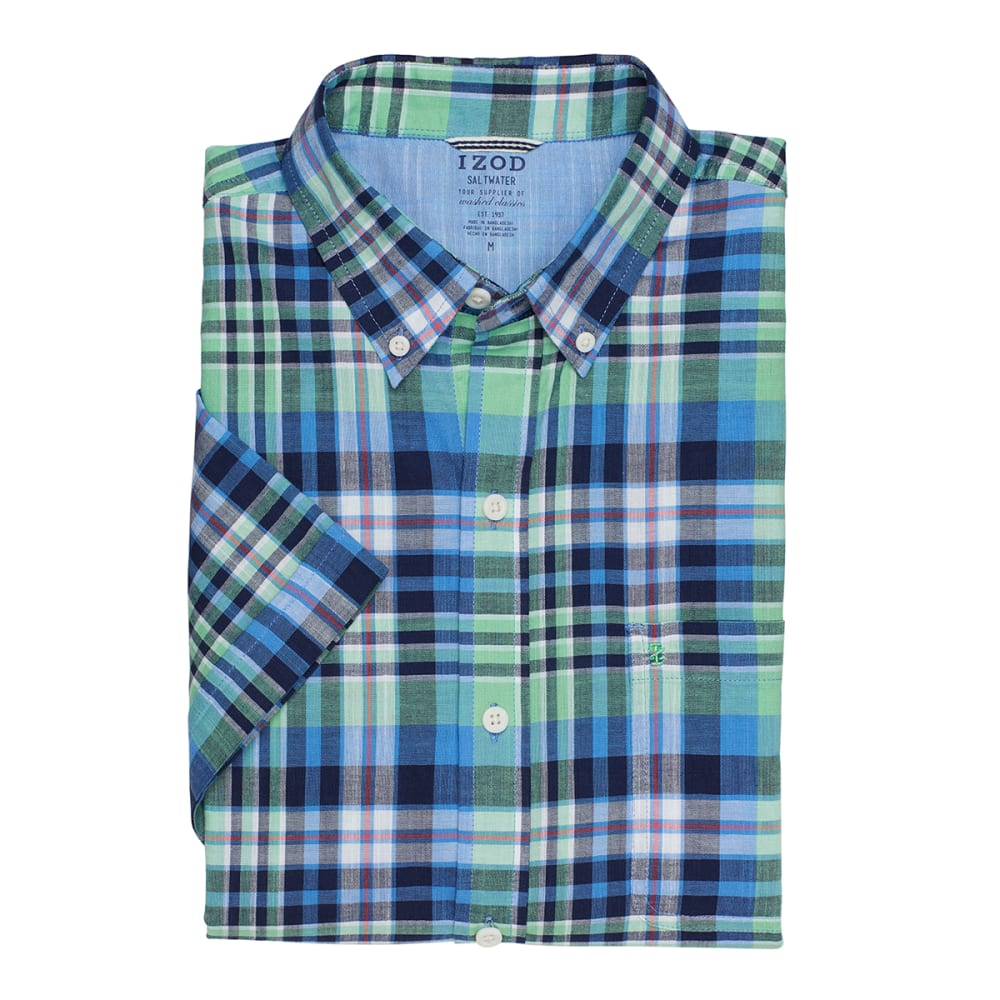 IZOD Men's Plaid Dockside Chambray Short-Sleeve Shirt - 317-ABSINTHE GREEN