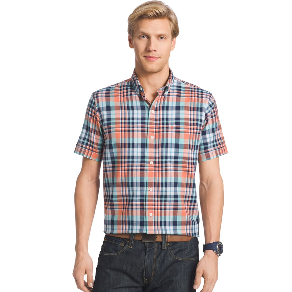 IZOD Men's Plaid Dockside Chambray Short-Sleeve Shirt - 810-CAMELLIA