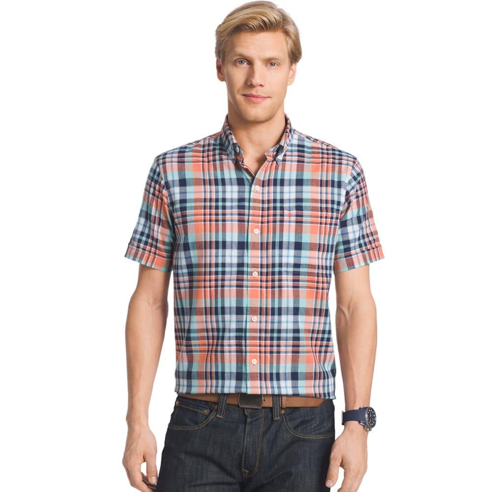 IZOD Men's Plaid Dockside Chambray Short-Sleeve Shirt - 810-CAMELLIA