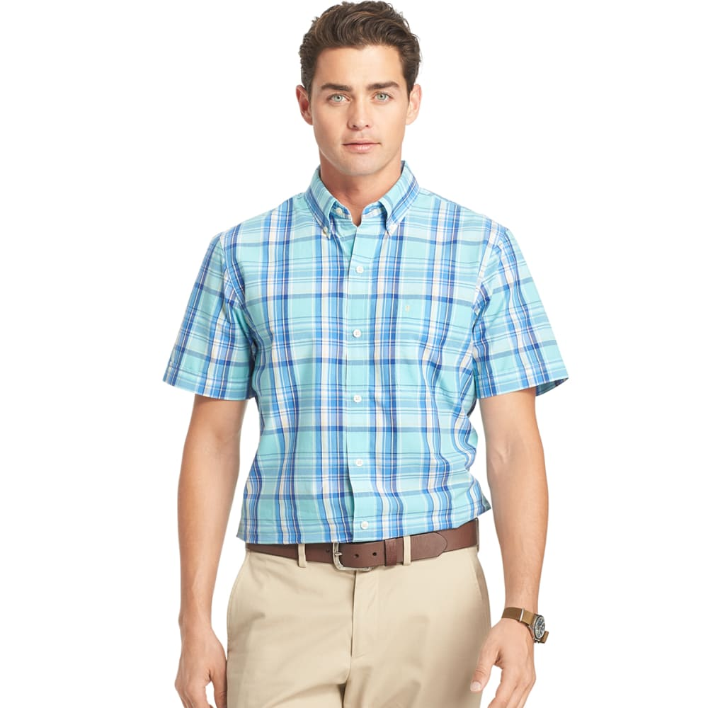 IZOD Men's Saltwater Plaid Poplin Short-Sleeve Shirt - 458-AQUA SKY