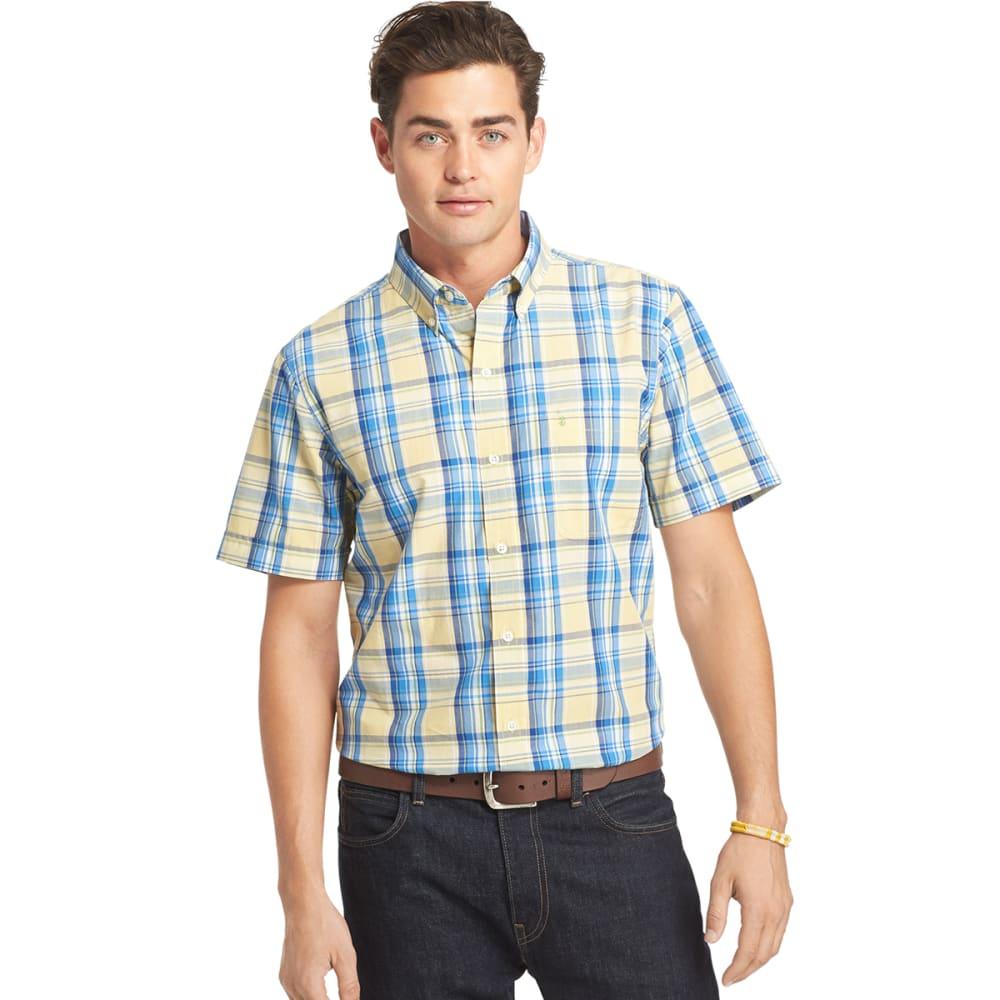 IZOD Men's Saltwater Plaid Poplin Short-Sleeve Shirt - 709-GOLDEN HAZE
