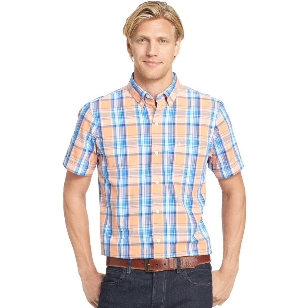 IZOD Men's Saltwater Plaid Poplin Short-Sleeve Shirt - 806-CORAL