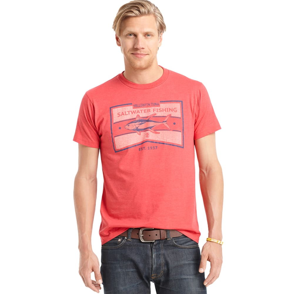 IZOD Men's Saltwater Fishing Graphic Tee - 307-RED HEATHER
