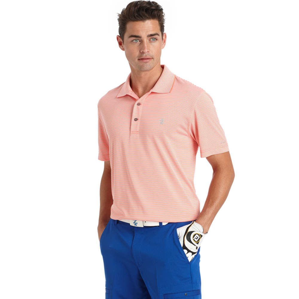 IZOD Men's Greenie Feeder Stripe Golf Polo - 833-CORAL
