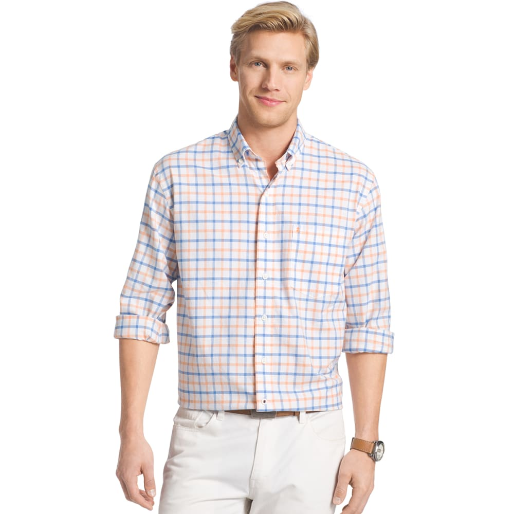 IZOD Men's Oxford Plaid Long-Sleeve Shirt - 822-MOCK ORG