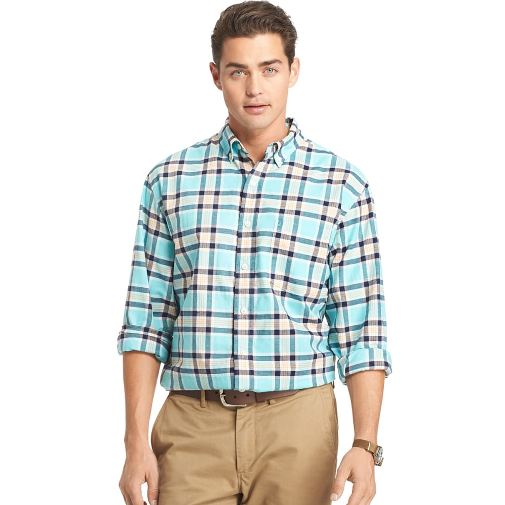 IZOD Men's Oxford Plaid Long-Sleeve Woven Shirt - 477-BLUE RADIANCE