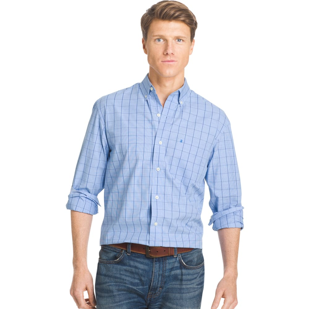 IZOD Men's Essential Windowpane Plaid Shirt - 464-BLUE REVIVAL