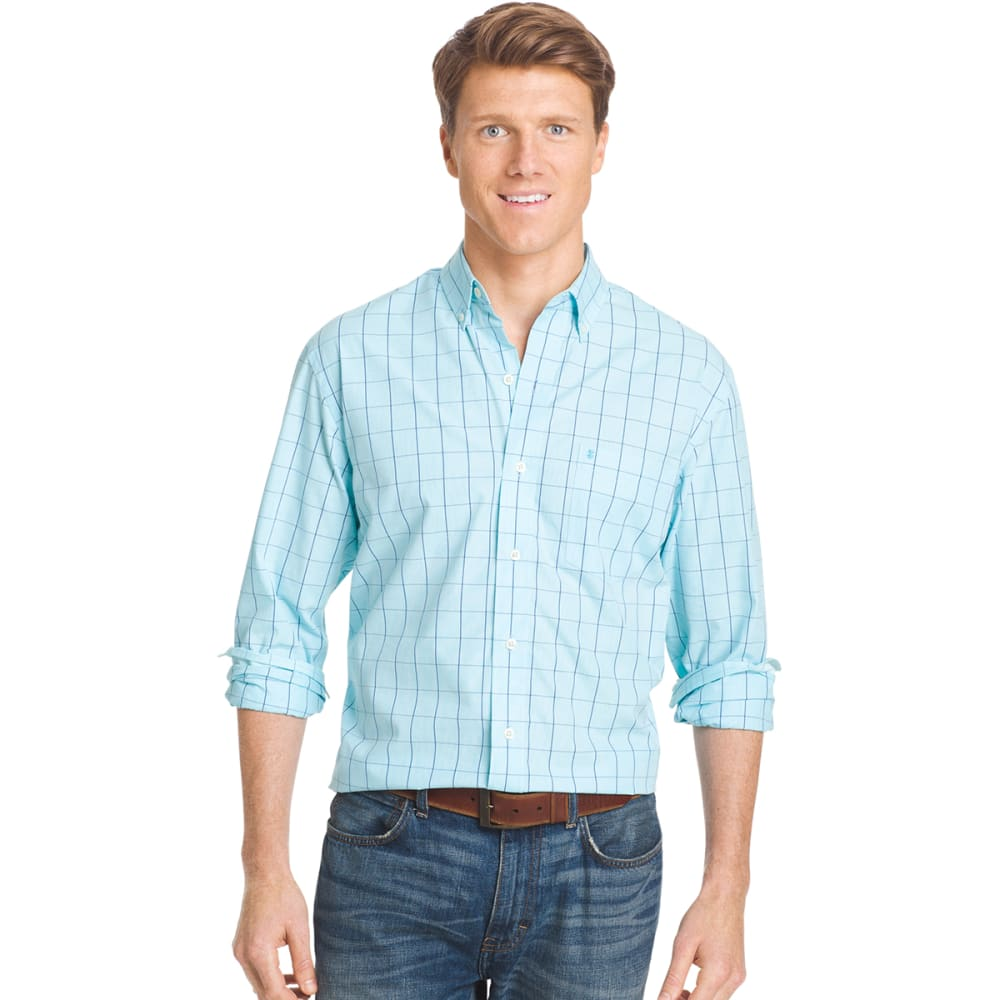 IZOD Men's Essential Windowpane Plaid Shirt - 477-BLUE RADIANCE