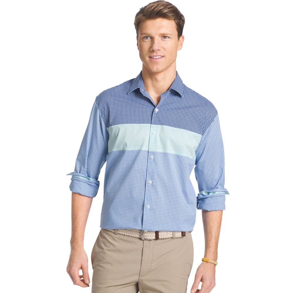 IZOD Men's Color-Block Gingham Shirt - 456-SKYWAY