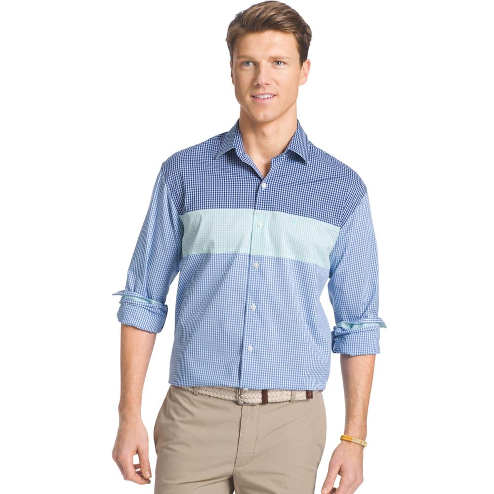 IZOD Men's Color-Block Gingham Shirt - 456-SKYWAY
