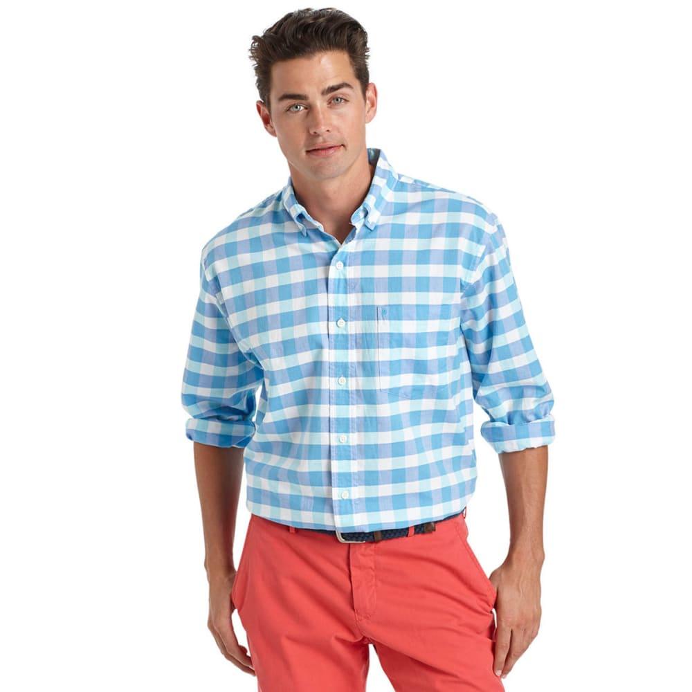 IZOD Men's Newport Oxford Plaid Shirt - 477-BLUE RADIANCE