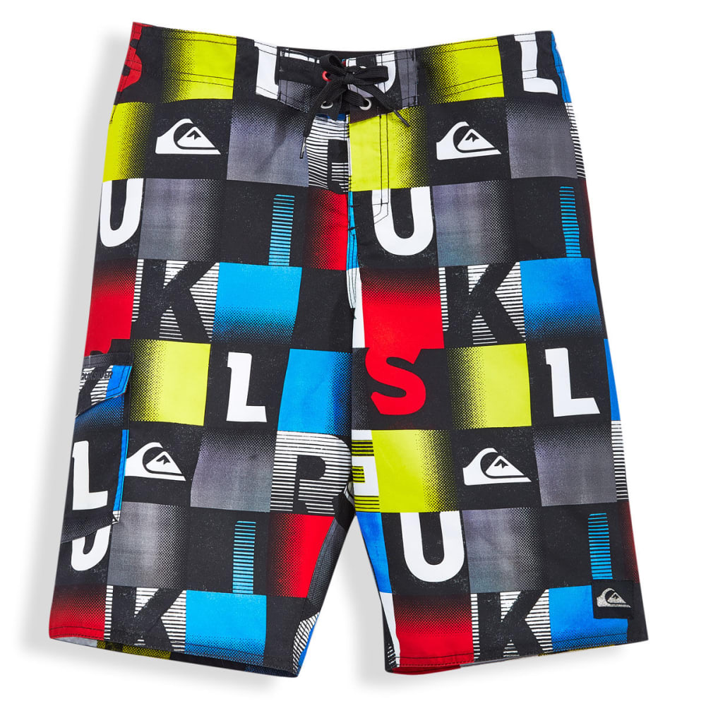 QUIKSILVER Boys' Word Checked Boardshorts - BLACK