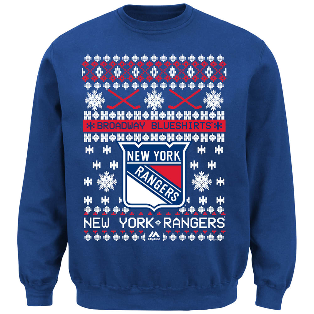 NEW YORK RANGERS Men's Holiday Crewneck Fleece - ROYAL BLUE