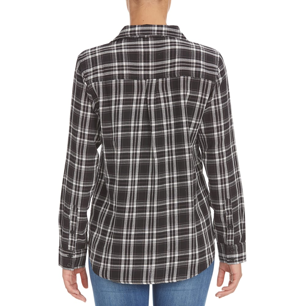 OVERDRIVE Women's Plaid Flannel Shirt - P541 BLACK