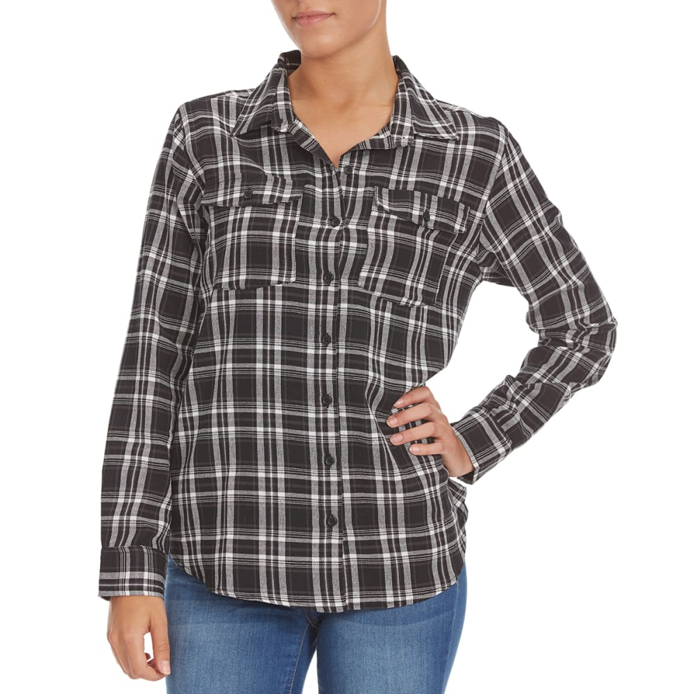 OVERDRIVE Women's Plaid Flannel Shirt - P541 BLACK