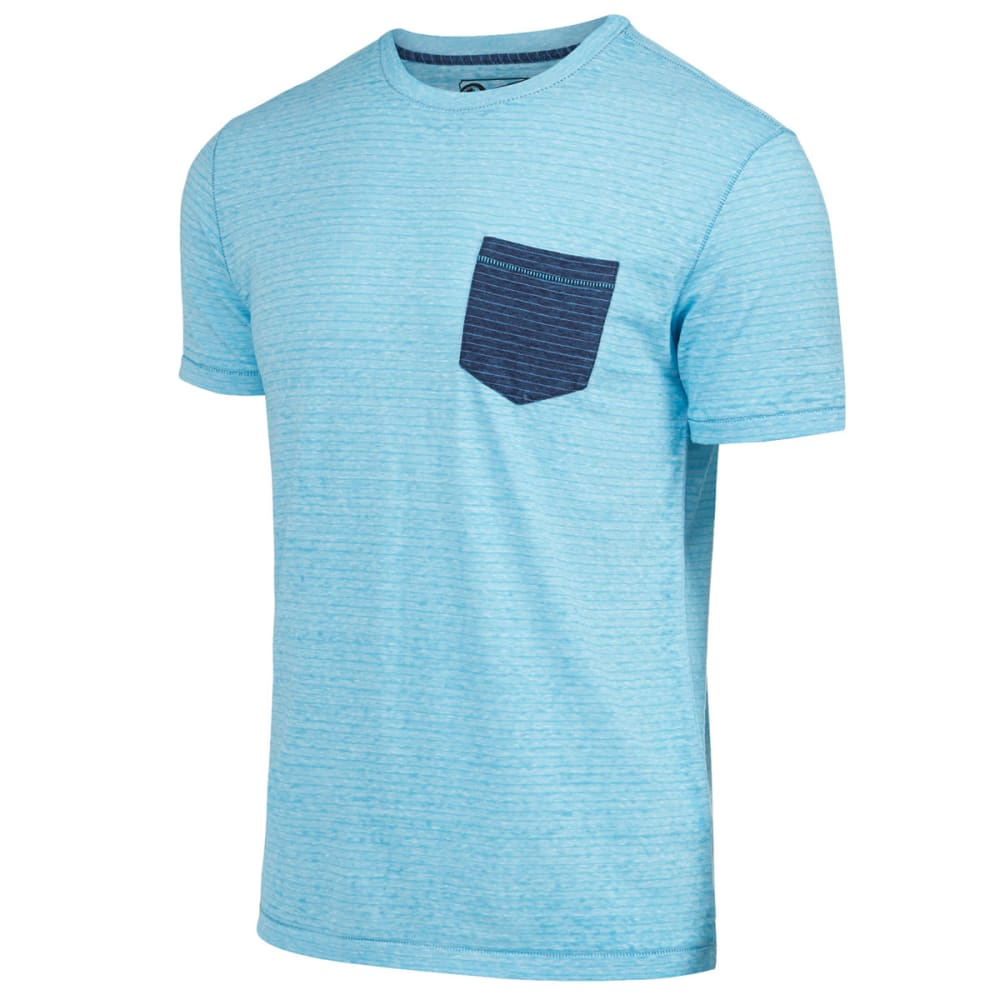 RETROFIT Young Men's Stripe Pocket Burnout Tee - TURQUOISE