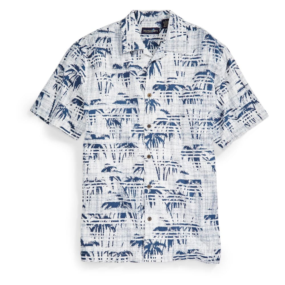 NEWPORT BLUE Men's Palm Lines Tropical Shirt - WHITE/BLU