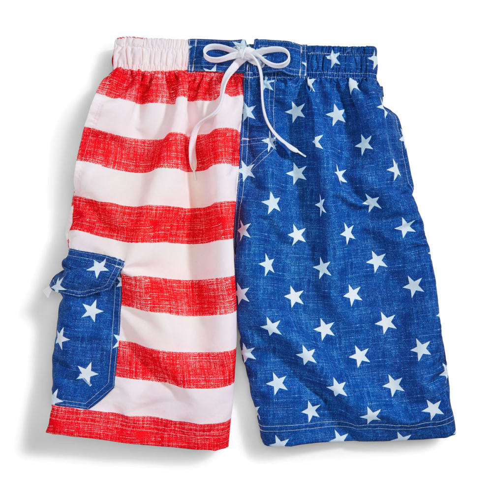 BLUE GEAR Men's Flag Swim Shorts - RED/WHITE/WHITE