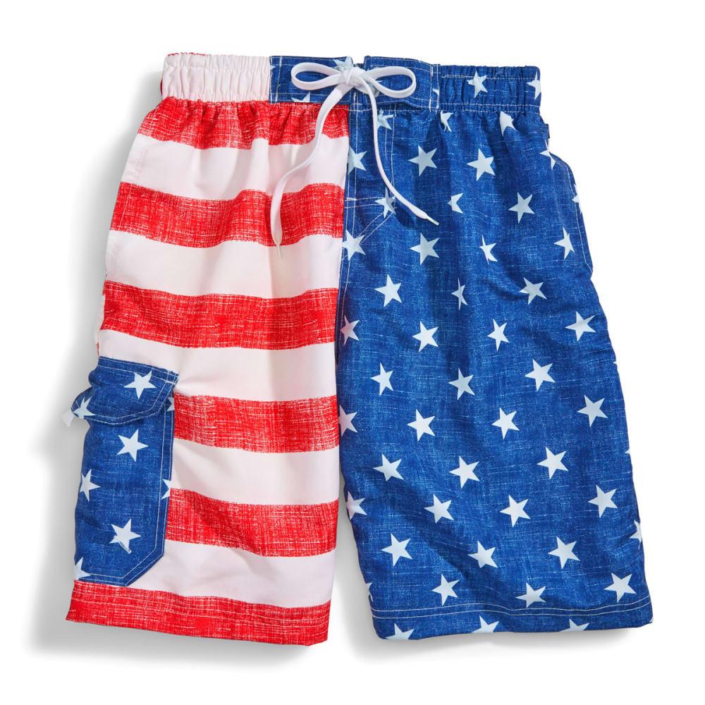 BLUE GEAR Men's Flag Swim Shorts - RED/WHITE/WHITE