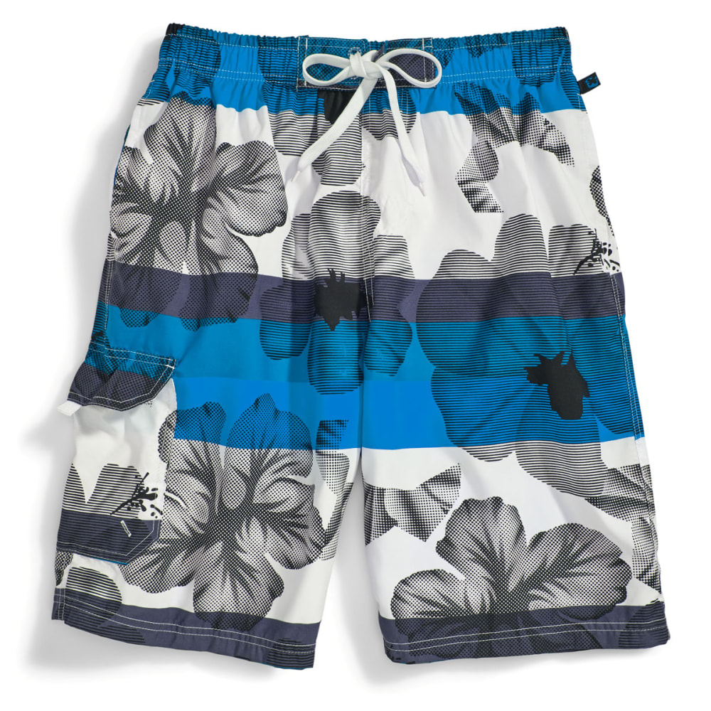 BLUE GEAR Men's Hibiscus Print Board Shorts - BRIGHT BLUE