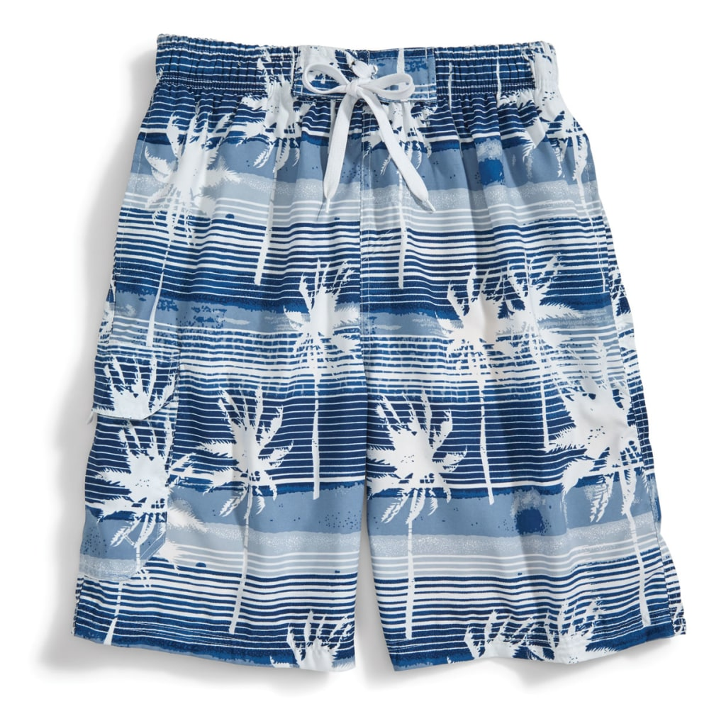 BLUE GEAR Men's Palm Tree Print Board Shorts - WHITE