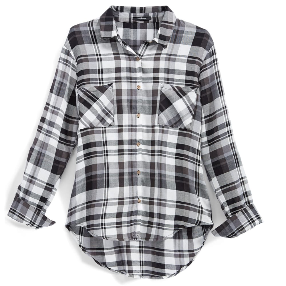 AMBIANCE Juniors' Rayon Plaid Boyfriend Shirt - OFF WHITE/BLACK