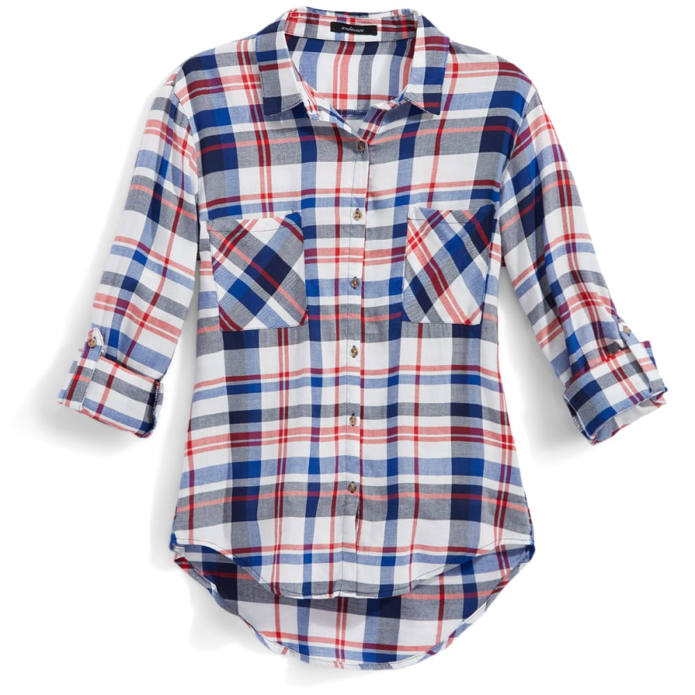 AMBIANCE Juniors' Rayon Plaid Boyfriend Shirt - RED/ECLIPSE