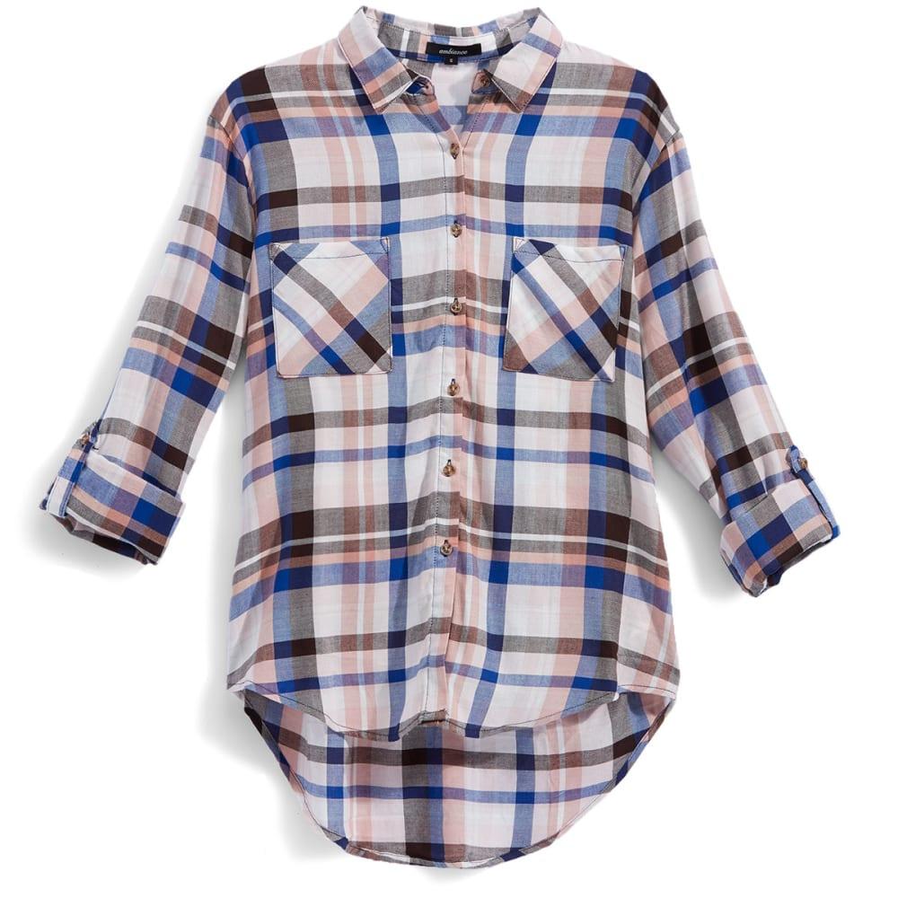 AMBIANCE Juniors' Rayon Plaid Boyfriend Shirt - BLUSH/BROWN