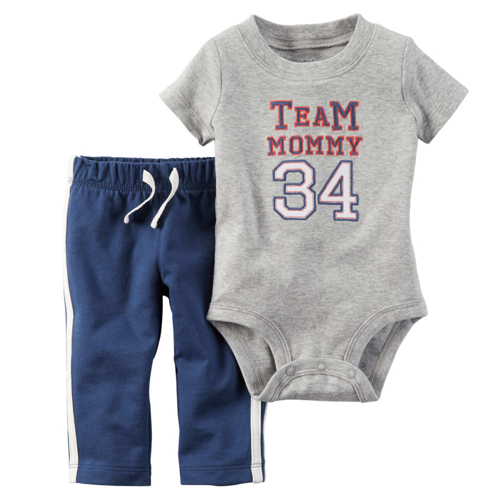 CARTER's Baby Boys' Team Mommy Bodysuit & Pants 2-Piece Set - GREY