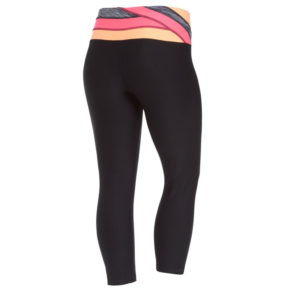 RBX Women's 21.5 in. Color Block Waistband Yoga Capri - BLACK/HOT PINK-A