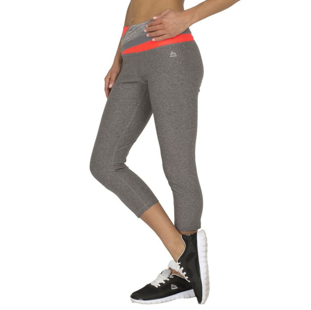 RBX Women's 21.5 in. Color Block Waistband Yoga Capri - CHARCOAL-C