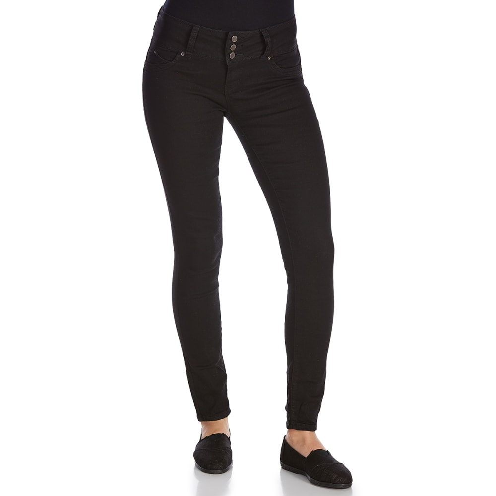 ROYALTY Women's Wanna Betta Butt Triple-Button Jeggings - W67-BLACK